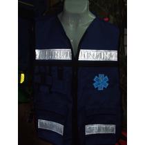 Chaleco Casaca Azul Logo Rescate Paramedico Ambulancia