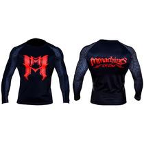 Rash Mmachines Bk Red Logo Long Sleeve Bjj Nogi Mma Talla M