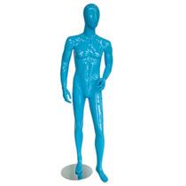 Maniqui Fibra De Vidrio Hombre Azul Brillante + Base Pm0