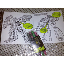 12 Invitaciones Transformers Para Colorear Incluye Crayola