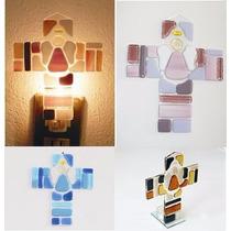 Cruz Elaborada En Vidrio Fusionado De Colores (docena)