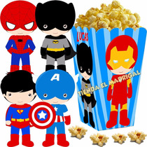 Kit Imprimible Pequeños Superheroes Candy Bar Batman