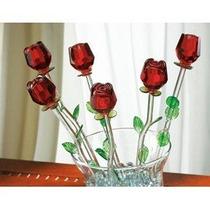 Rojas Bouquet 6 Rosas De Cristal Con Las Hojas Verdes (red 1