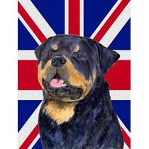 Rottweiler Con Inglés Union Jack Británica Bandera De La B