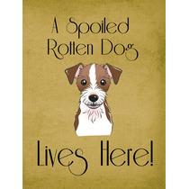 Jack Russell Terrier Perro Estropeado Vive Aquí Bandera Ver