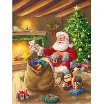 Navidad Santa Claus Descarga Juguetes Bandera Verde Superfic