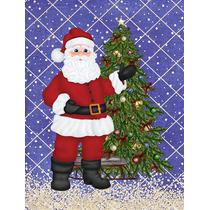 Santa Claus Y La Bandera Del Árbol De Navidad Verde Superfi