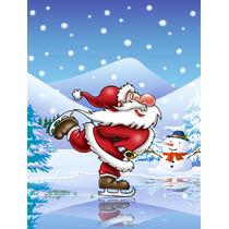 Navidad Santa Claus Patinaje De Hielo De La Bandera Canvas T