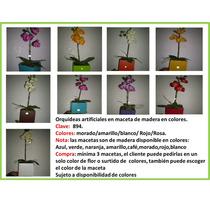 Maceta De Madera Con Vara De Orquídea Artificial Mdn