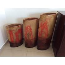 3 Jarrones De Barro 80, 70 Y 55 Cm Altura Seminuevos