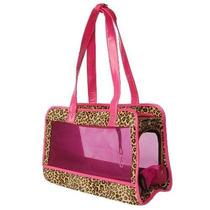 Bolsa Para Gato Cheetah-print Pet Carrier W / Faux Tapicerí