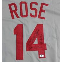 Jersey Autografiado Firmado Pete Rose Cincinnati Reds Mlb