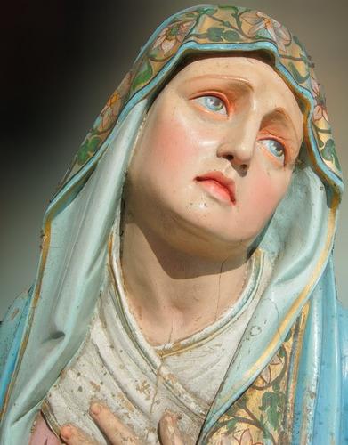 Josef Krejcik Virgen Dolorosa Madera Policromada Praga 1893