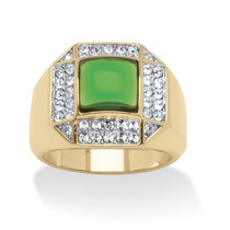 De Los Hombres Verde Cristal Cabochon 14k Oro--tamaño 10