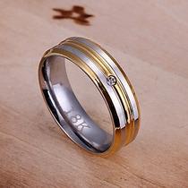 Anillo Matrimonio Zirconia Cubica 316-l Acero Inoxidable Oro