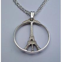 Dije De Torre Eiffel Amor Y Paz Peace & Love En Plata .925