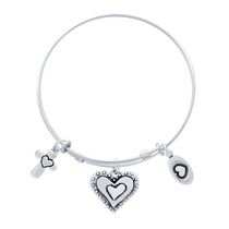 Bangle With Heart, Cross, And Love Charms