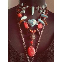 Set Collar Coral, Jade Y Colmillos De Cuarzo Con Aretes