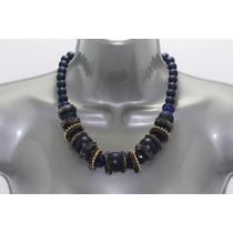 Collar Moda Con Esferas Azul Marino, Cuentas Y Pedrería Cc21