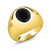 Anillo De Oro Amarillo Negro Onyx