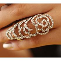 Anillo Doble Chapa De Oro 18k Piedras Preciosas Zirconia Hm4