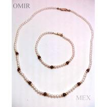 Collar Y Pulsera Con Perlas Cultivadas En Oro 10k