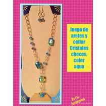 Precioso Juego De Collar Y Aretes. Cristal Checo Facetados