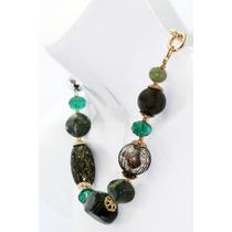 Collar Moda Esferas, Eslabones, Piedras Verdes Y Aretes
