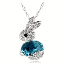 Cadena Y Dije-conejo-con Cristales- Flete Gratis
