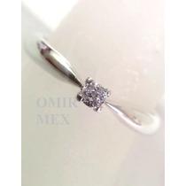 Anillo Compromiso Plata Con Diamante Corte Old Mine 0.13q.