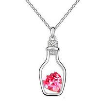 Regalo Collar Mensaje Botella Amor Corazón Swarovski Element