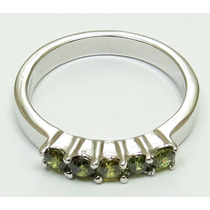Anillo Oro Blanco Gold Filled Con Peridots De 3mm #8