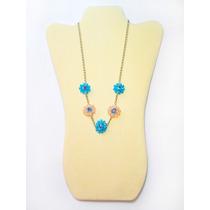 Collar De Flores De Murano Y Cristal Color Tuquesa Y Rosa