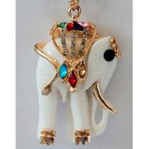 Cadena Y Dije-elefante- Con Cristales-flete Gratis