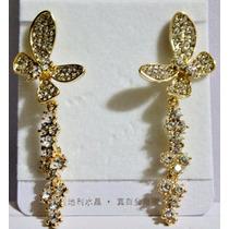 Aretes Cristal Austriaco- Dorado.largos--flete Gratis