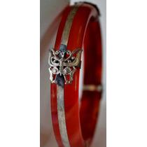 Pulsera-jade Rojo-.plata Hindu-mariposas - Flete Gratis