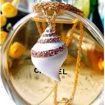 Cadena Y Dije-caracol Esmaltado Con Cristales- Flete Gratis