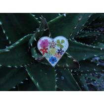 Anillo Corazón Alpaca Flor Natural Encapsulada