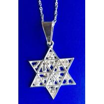 Dije De Estrella De David Con 12 Simbolos En Plata Ley .925