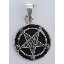 Dije Medalla Sello Bafomet Símbolo Baphomet Pentagrama Plata