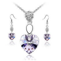 Set Dije Cadena Y Aretes Swarovski Elements Pure Heart Maa