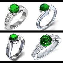 Anillo De Compromiso Oro 18k Con Esmeralda Natural Diamantes