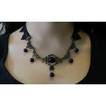 Collar Gargantilla Gótica Victoriana De Encaje Y Metal