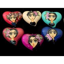 Corazon De Ceramica Artesanal Frida Collar Bisutería 12 Pzs