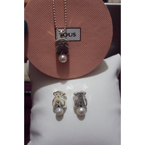 Set Oso Tous Style Con Perla, Plata Fina 925