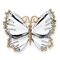 Silvertone Dos-tono Mariposa Pin/broche