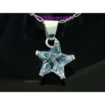 Dije De Estrella De Zirconia Mini Engarse En Plata Ley 0.925