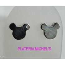 Aretes De Miky Mouse De Plata Ley 0.925