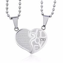 Collares Para Novios Corazon Roto Grabado Silver Amor Amigos