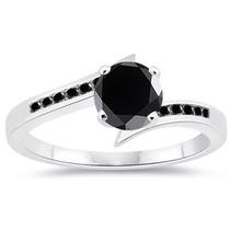 Anillo Compromiso Plata 925 Diamante Moissanite Negro
